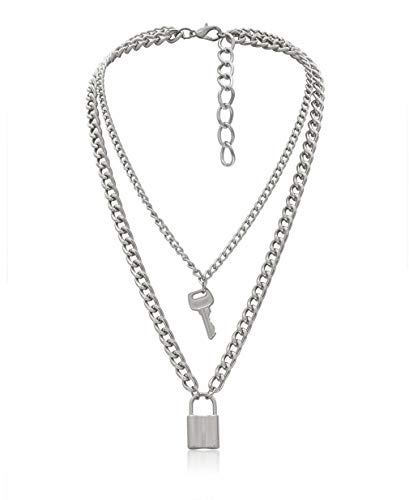 Lock Key Pendant Necklace Statement Long Chain Punk Multilayer Choker Necklace for Women Men (Silver Tone)