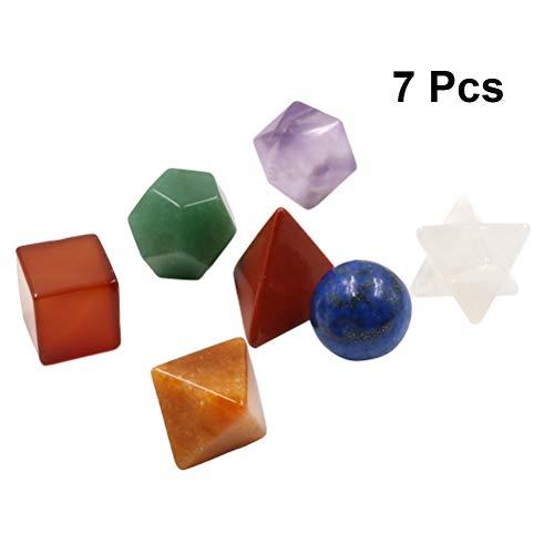 VORCOOL Conjunto de geometría Sagrada de los sólidos platónicos de Cristal curativo de Chakra con Conjunto de Piedra de Chakra Tallada en Estrella de Merkaba