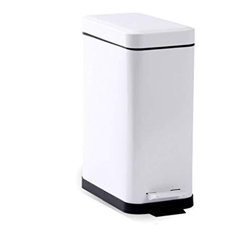 LTCTL Papeleras Cuadrado Cubo de plástico Cubo de Basura, 1.3/2.6Gallon Capacidad, Pedal Cubo de Basura, for la Cocina, Oficina, casa-silencioso y Suave, Blanco Marfil Cubo de la Basura