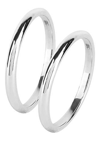 新宿銀の蔵 幅2mm シンプル 甲丸 細身 シルバー 925 ペアリング 5〜21号 (レディース11号とメンズ13号) 指輪 カップル お揃い 2個セット