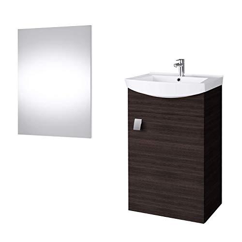 Waschtisch + Spiegel Badmöbel Set für Gäste Bad WC (Wenge)