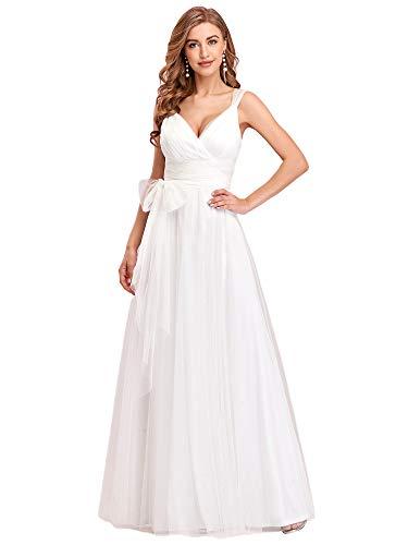 Ever-Pretty Vestidos Invitada Boda Largo para Mujer Escote v Profundo Tul sin Mangas Corte Imperio A-línea Blanco 46