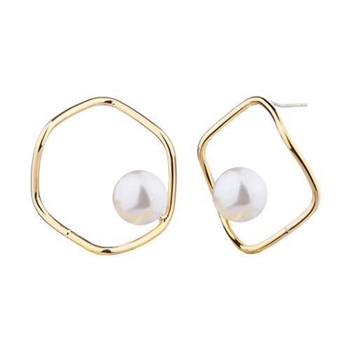 Sincera Pendientes chapados en oro de 18 quilates para mujer con perlas blancas de Italia