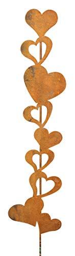 Bornhöft Gartenstecker Herzen Metall Rost Gartendeko Edelrost rostige Beetstecker Topfstecker (Herz Rankstab)