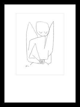 Bild mit Rahmen Paul Klee - Vergesslicher Engel - Digitaldruck - Holz schwarz, 70 x 93.1cm - Premiumqualität - Zeichnung, Engel, Himmelswesen, Expressionismus, Klassische Moderne, Büro, Wohnzimme.. - MADE IN GERMANY - ART-GALERIE-SHOPde