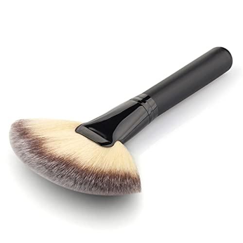 1 PCS Maquillage Doux Grand Fan Brosse Fond De Teint Blush Blush Poudre Surligneur Brosse Poudre Brosses Cosmétiques Brosses Maquiagem - NOIR