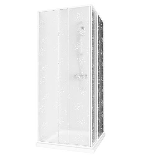 Aquabad® Simpla | Eckeinstieg Duschkabine | Rahmenfarbe: Weiß | Plexiglas mit Tropfendekor(Acrylglas) | Größe Variabel: 75-90 x 75-90 x 185 cm