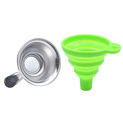 BTMB Silicone Collapsible Funnel with Stainless Steel Resin Filter Cup 3D Printer Accessories for SLA DLP LCD for 3D Printer Elego Mars Photon Formlabs (Green)-1set