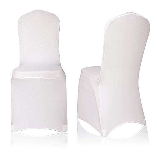 Best-Bedding White Color Stretchable Polyester Fabric (Pack of 50) Chair Covers (L17.7 x W17.7 x H36.6) inches for Wedding Feast, Birthday Party and Dining Decoration.