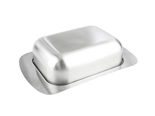Cookery Butterdose aus gebürstetem Edelstahl Spülmaschinenfest 250g matt mit Deckel Butterglocke Butter Dish Butterschale Butterkühler Butterbehälter Butterbox Metall Kühlschrank Kühlschranktür