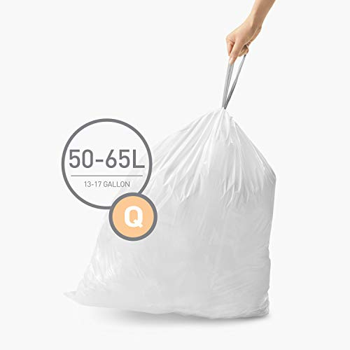 simplehuman Code Q Custom Fit Drawstring Trash Bags, 50-65 Liter / 13-17 Gallon, 100 Count, White, 100 Count