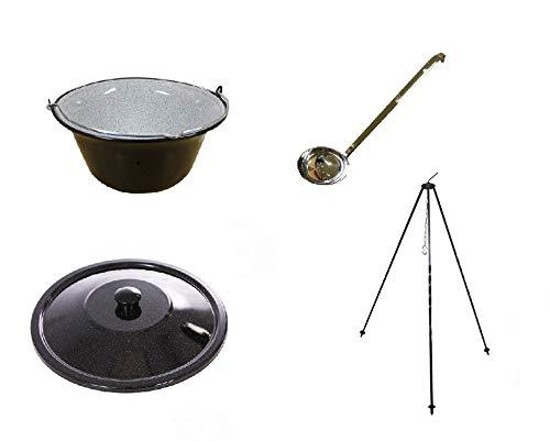 Unbekannt Set Gulaschkessel 10 Liter, Deckel, Dreibein 1m und Schöpflöffel aus Edelstahl