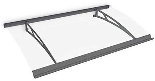 Schulte deurluifel Style-Plus 160 x 90 cm, helder gebogen polycarbonaat, Edelstaal antraciet, V1117-20-30