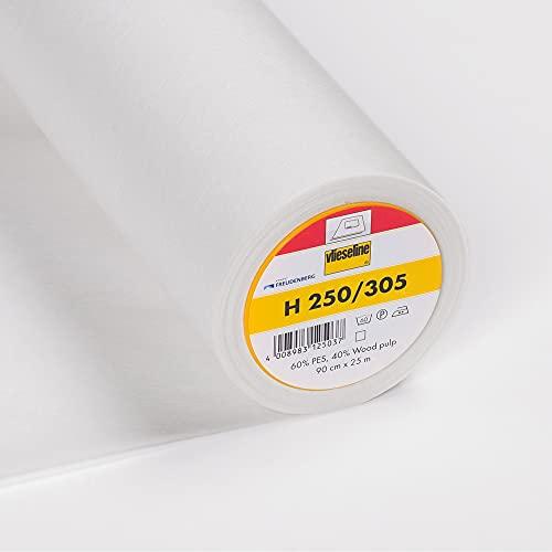 VLIESELINE Bügeleinlage H250 weiß/graphit   Original Freudenberg Meterware H 250 Bügelvlies, Farbe: weiß, Mustername: (6,10 EUR/lfdm) 50cm