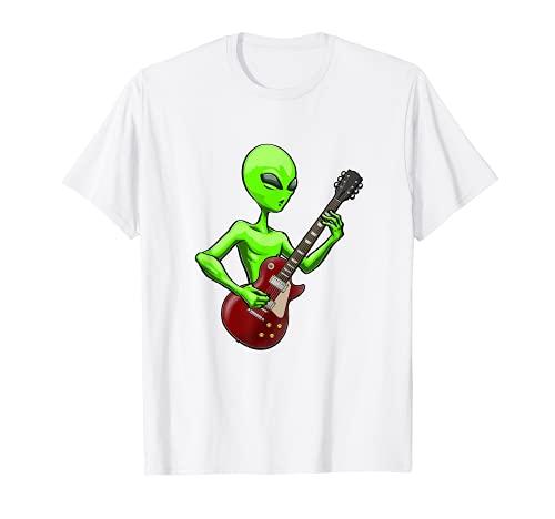 Alien Guitar Tee Shirts Alien Music Love Tees Mujeres Músico Camiseta