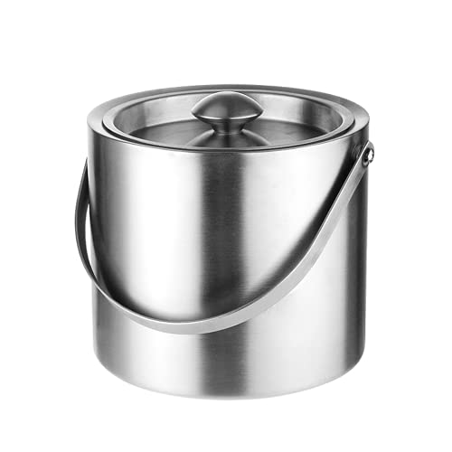 HQ2 Cubo de Hielo de Acero Inoxidable, Cubo de Hielo de Metal de Grado alimenticio, diseño de Mango es fácil de Transportar, Adecuado para familias, Bares, restaurantes