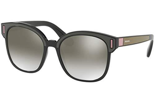 Prada PR05US Sonnenbrillen Schwarz Braun Pink Mit Silbernen Verspiegelten Gläsern 53mm SVK5O0 SPR05U PR 05US SPR 05U