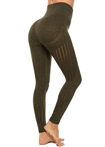 FITTOO Leggings Sin Costuras Corte de Malla Mujer Pantalon Deportivo Alta Cintura Yoga Elásticos Fitness Seamless Verte-2 Small