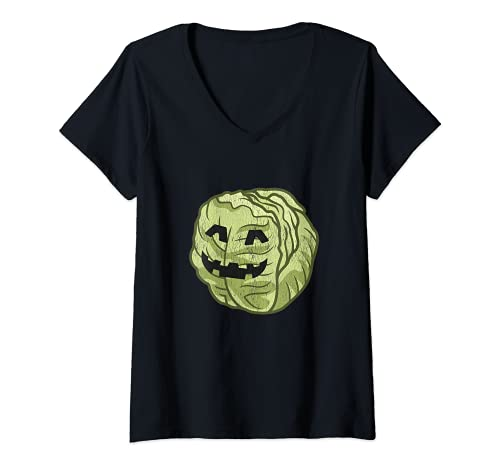 Mujer Disfraz de Halloween de lechuga perezoso. lindo y fcil de dibujos animados Camiseta Cuello V