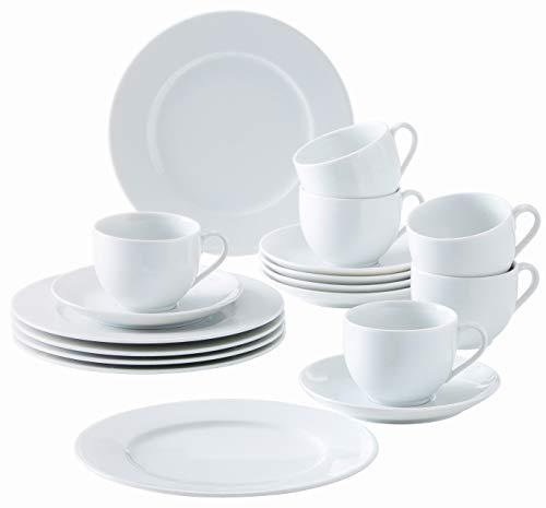 Kahla 050104O90005B Aronda Porzellan Geschirrset für 6 Personen Kaffeeservice Tassen Untertassen Teller 18-teilig weiß Kaffeeset ohne Muster