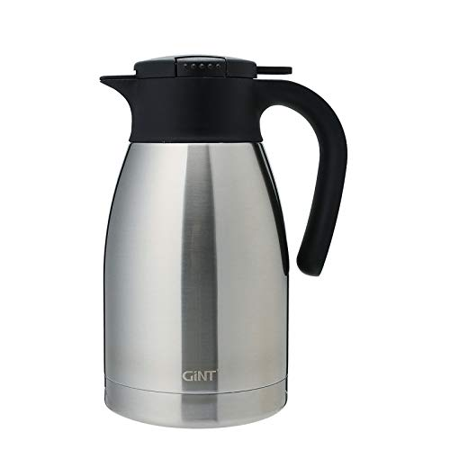 GiNT Stainless Steel Thermal Coffee Carafe with Lid/Double Walled Vacuum Thermos / 12 Hour Heat Retention (Silver, 1.5L)