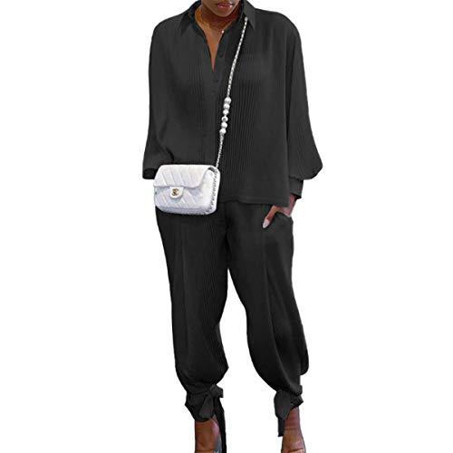 Siyova 2 Pezzi Completo da Donna Elegante Camicia a Maniche Lunghe con Risvolto a Coste Tinta Unita+Pantaloni Lunghi Abiti Donna Casual Autunnali Primaverili Tuta Leggero (Nero, S)