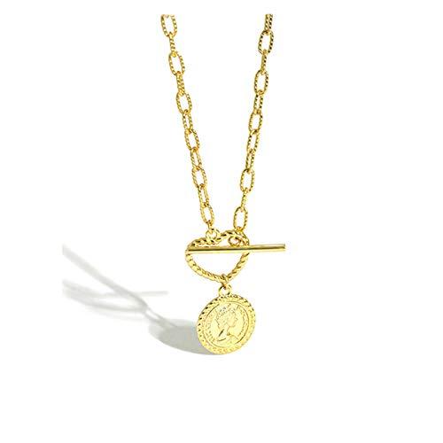 Wnkls 925 Cadena de Oro esterlina Cadena geométrica Horóscopo Horóscopo Monedas Mujeres Colgante Collar Roca Punk (Color : Gold)