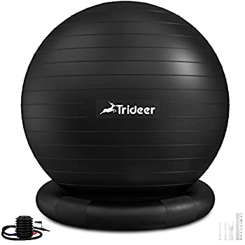Trideer Ball Chair Yoga Ball Chair Exercise Ball Chair with Base for Home Office Desk Stability Ball & Balance Ball Seat to Relieve Back Pain Home Gym Workout Ball for Abs Pregnancy Ball with Pump