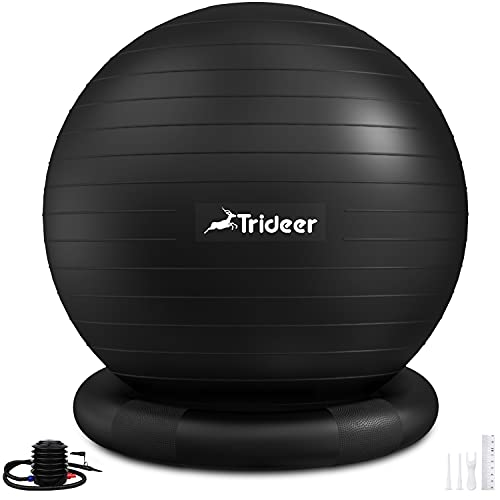 Trideer Ball Chair Yoga Ball Chair Exercise Ball Chair with Base for Home Office Desk, Stability Ball & Balance Ball Seat to Relieve Back Pain, Home Gym Workout Ball for Abs, Pregnancy Ball with Pump