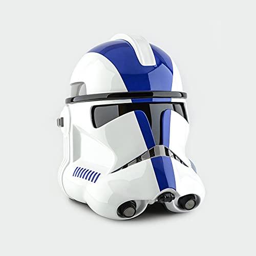 Urhause Casco Mandaloriano,Stormtrooper Helmet,Mandaloriano Helmet Cosplay,Decoración Casco de Halloween,Películas Sombrero,para Disfraces de Fiesta Festivales de Navidad,PVC,Azul Blanco