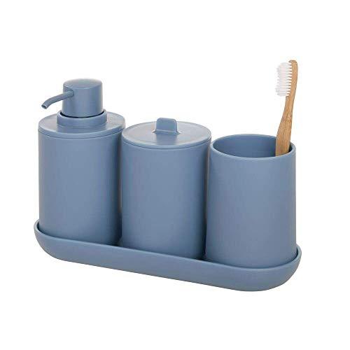 iDesign accessori bagno, Set da 4 in plastica composto da dispenser sapone, portaspazzolini, contenitore cotone e vassoio, blu, 24,5 cm x 8,9 cm x 16,2 cm
