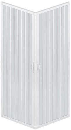 Box Doccia A Soffietto Liberte' 90x90 CM Angolare Riducibile Colore Bianco Pastello