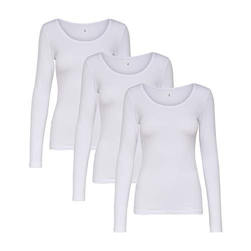 ONLY 3er Pack Damen Langarmshirt Schwarz Weiß Langarm Basic Longsleeve 15240036, Größe:XS, Farbe:3er Langarm weiß