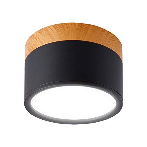 Temgin Focos Superficie Negro Redondo 7W Focos para Techo Lámpara de Techo Blanco Frío Aluminio Para Baño Cocina Pasillo Sala