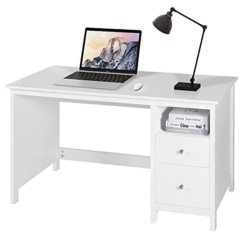 Yokstore 47 Inch Writing Desk with Storage Cabinet for Home Office, Wood Computer Desk with Drawers, Modern Student Study Desk, PC Laptop Workstation Table, White