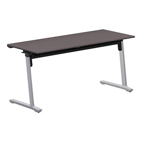 コクヨ 会議テーブル カーム KT-1403P81MG5NN 天板フラップ式 パネルなし直線タイプ 電源コンセントなし棚なし フラットシルバー脚/天板アッシュブラウン 幅150×奥行き60cm