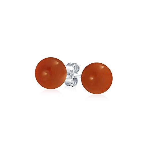 Simple Teñidas De Rojo Coral Natural Bola Pendiente De Boton Redondo Para Mujer 925 Plata De Ley 925 6Mm