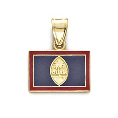 14k Yellow Gold Enamel Guam Flag Pendant Necklace Jewelry Gifts for Women
