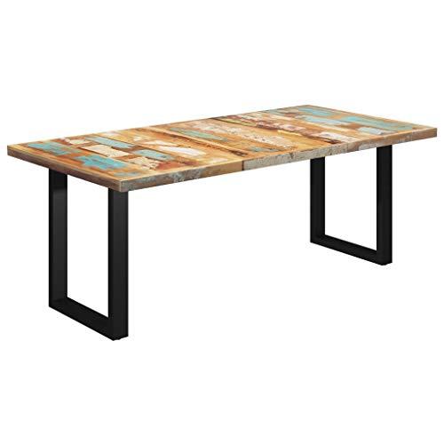 vidaXL Tavolo da Pranzo con Gambe a O Mensa Tavola Cucina Arredo Mobile Tavolino Tavolinetto Soggiorno Bar Ristorante Legno di Recupero 200x100x77cm