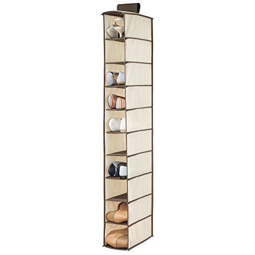 mDesign Organizador de zapatos para armario – Muebles zapateros para colgar con 10 compartimentos – Estanterías para zapatos, bolsos o carteras para ahorrar espacio – beige y marrón oscuro