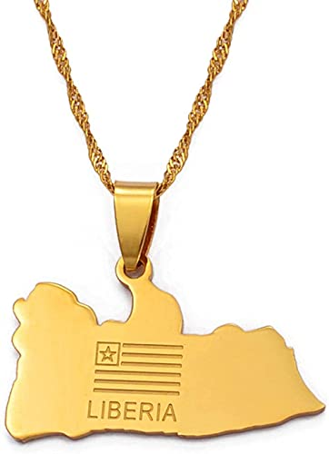 BACKZY MXJP Collar Mapa Bandera Oro Color Charms Collares Pendientes Liberianos Joyería Oriente Medio