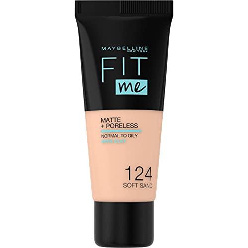 Maybelline New York, Base de Maquillaje que Calca a tu Tono Fit me! Mate y Afinaporos, Color: 124 Soft Sand