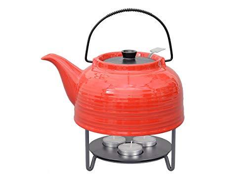 """tea4chill Teeservice """"Nelly"""". Moderne Teekanne 1,5 Liter in rot-schwarz aus hitzebeständiger Keramik mit Edelstahlfilter und Metall-Stövchen."""