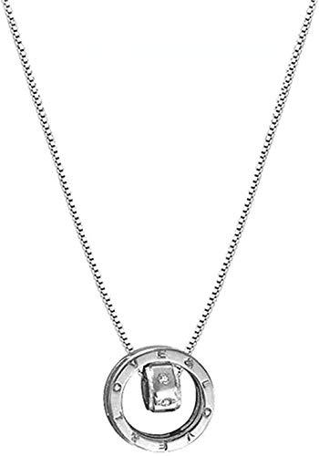 ZHIFUBA Co.,Ltd Collar Collar Circular de Anillo Doble Collar con Colgante de Plata 925 para Mujer Joyería de Moda Viene cumpleaños para Mujeres y niñas Regalo para Mujeres y niñas