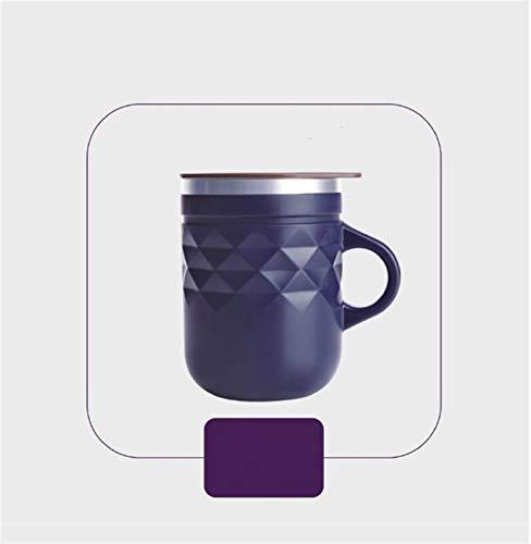 Taza de café de acero inoxidable Té portátil Café de leche Aislamiento térmico Breve anti-caída capuchino latte tazas (Color : Deep Purple)