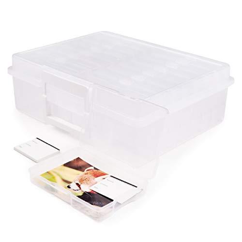 Foto Aufbewahrungsbox mit 16 Fotohüllen Fotoschachteln, 11,5x17cm (Kapazität 1600 Fotos) & Etiketten| Plastik Fotobox Organizer Behälter| Schützen & Organisieren Sie Ihre Photo, Bastelbedarf & mehr.