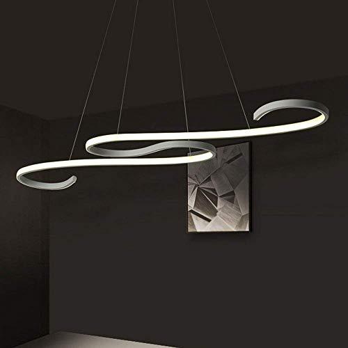 GBLY LED lampada a sospensione tavolo da pranzo dimmerabile 45W lampada a sospensione moderna bianco 150 cm altezza regolabile lampada da pranzo per ufficio sala da pranzo curva design