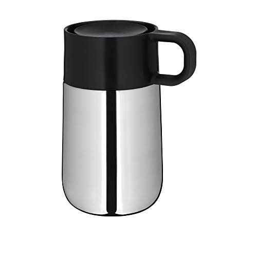WMF Impulse Travel Mug, Thermobecher 0,3l, Automatikverschluss, 360°-Trinköffnung, hält Getränke 6h warm/ 12h kalt, silber