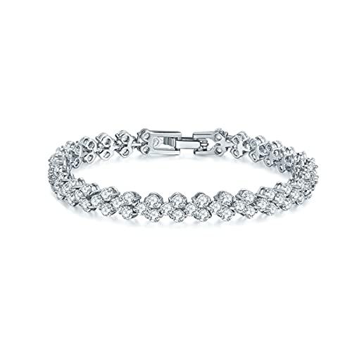 MAGIIE Pulsera Cristal de Swarovski,Pulsera Mujer Plata de Ley 925,Regalos Navidad San Valentín Compromiso Boda (Blanco)