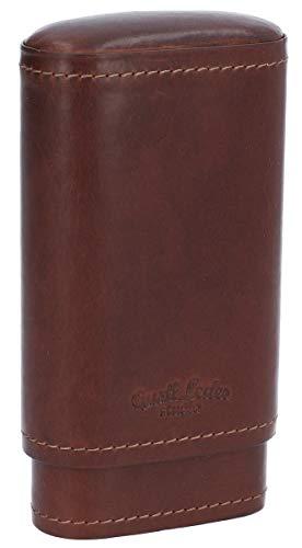 Box para Cigarros Gusti Cuero Studio Ramon Funda para Cigarros y Encendedor Empaste de Cedro Marrón Oscuro 2T21-22-6